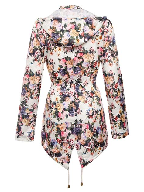 Hooded Floral Jacket womens hooded floral jacket showerproof mac