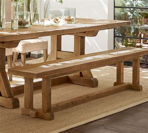 pottery barn kitchen table with bench stafford reclaimed wood bench pottery barn