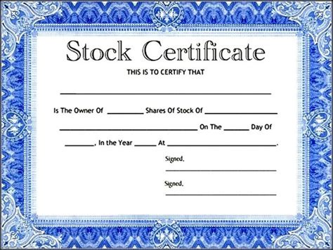blank corporate stock certificate template sle templates