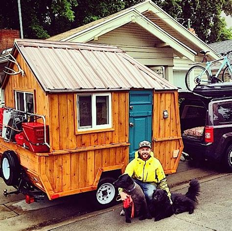 pop up tiny house man converts pop up trailer into micro cabin on wheels