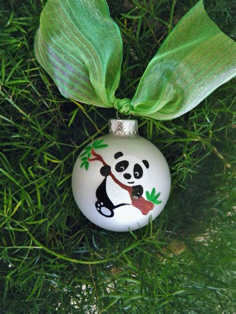 panda bear ornament personalized hand painted christmas