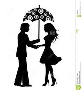 silhouettes des et des femmes sous le parapluie