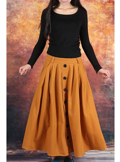 mustard color skirt womens skirts baggy style black buttoned skirt
