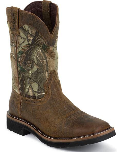 justin mens camo waterproof work boots justin s waterproof composite toe camo work boots