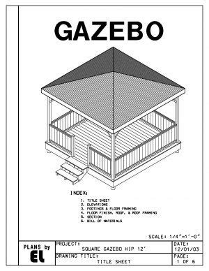 sided gazebo hip roof building plans blueprints
