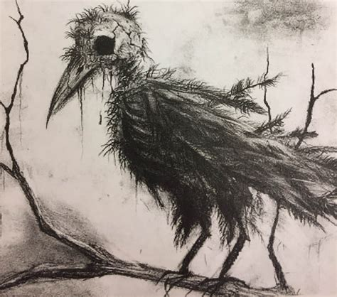 creepy bird drawing