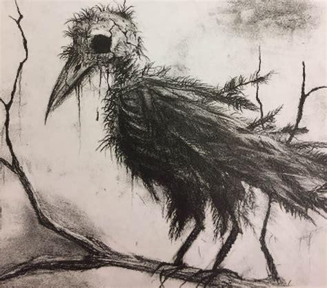 creepy bird drawing