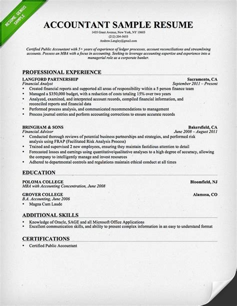 best resume for experienced format resume format for experienced accountant best resume gallery