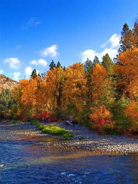 peak autumn trees lovely river ipad mini wallpaper