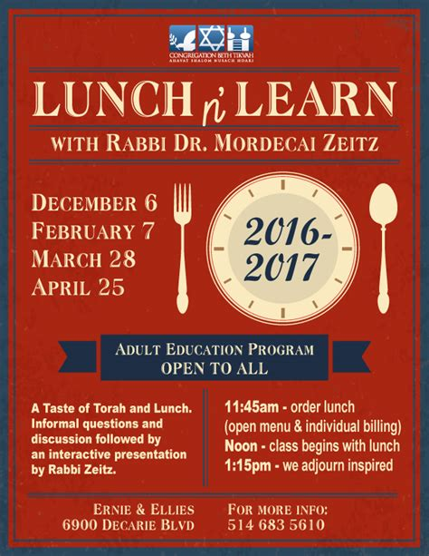 Lunch N Learn Congregation Beth Tikvah Congregation Beth Tikvah Lunch And Learn Flyer Template