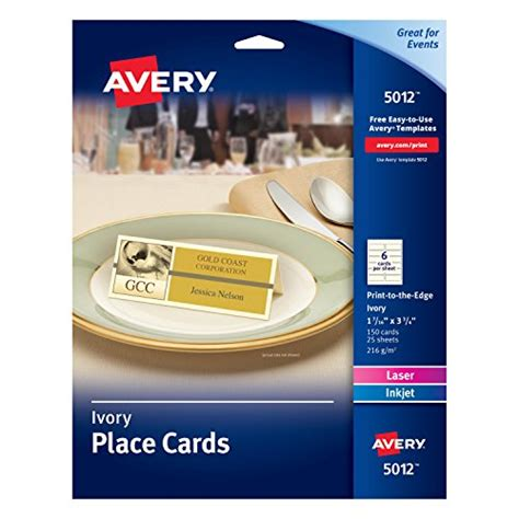 place card templates for great papers 959040 avery ivory place cards laser inkjet printers import