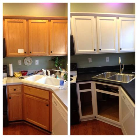 Contractor Grade Kitchen Cabinets by Diy Painted Builder Grade Oak Cabinets White Used