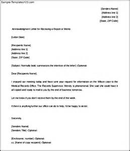 acknowledgment letter for receiving a report free sample