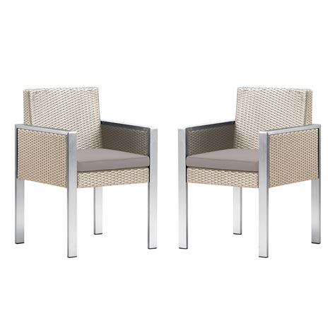 White Outdoor Dining Chair Watercube Outdoor White Rattan Patio Dining Chair With Aluminum Arms And Brown Fabric Cushion