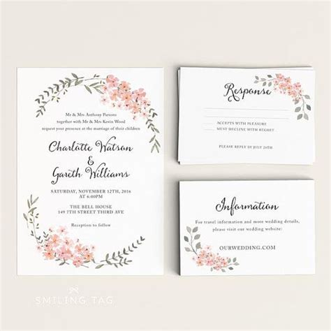 Ready To Print Wedding Invitations by Printable Wedding Invitation Printable Floral Wedding