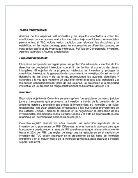 Resume Colombia by Resumen Tlc Colombia Estados Unidos