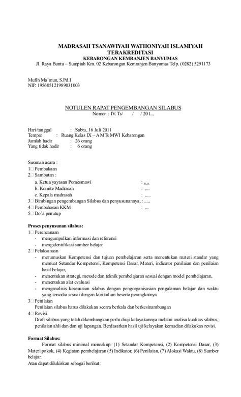 Contoh Notulen by Notula Rapat Pengembangan Silabus