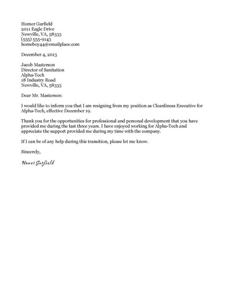 resignation letter writing a formal letter of resignation sle writing a formal letter of