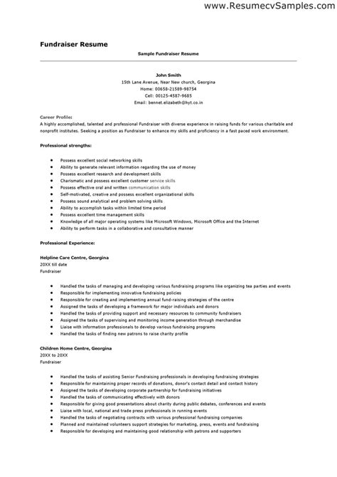 cover letter for fundraising fundraiser resume sles