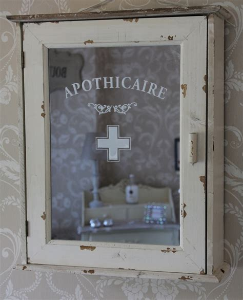 Apothicaire shabby bathroom distressed cabinet cream