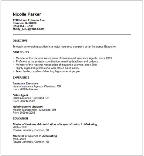 An Exle Of A Resume by Banking And Insurance Resume Exles