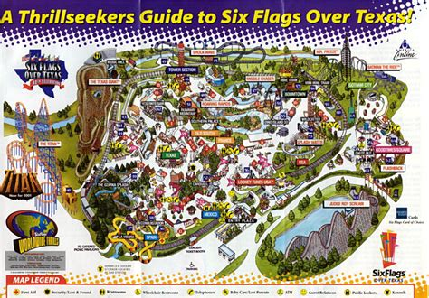 six flags texas map sfot s 12 coasters can be found on the map