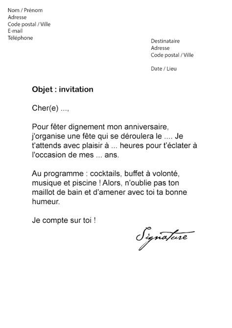 lettre d invitation anniversaire mod 232 le de lettre