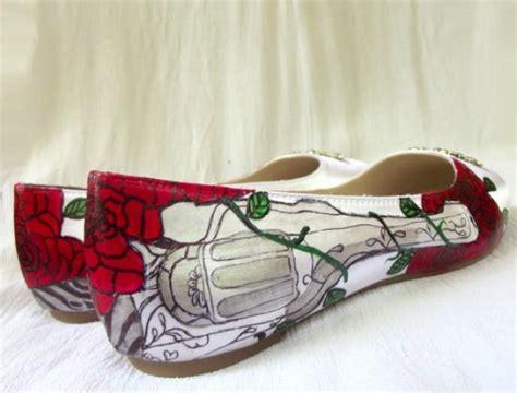 unique flat wedding shoes wedding shoes guns and roses charcoal revolver flats