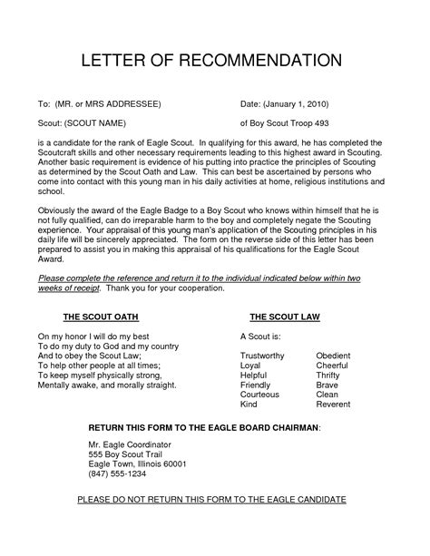 letter of recommendation for eagle scout template eagle scout recommendation letter template collection