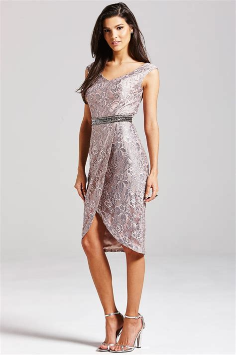grey lace bardot dress from uk