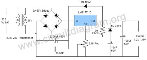 circuit diagram of variable power supply 1 25v 37v 1 5a variable adjustable power supply using