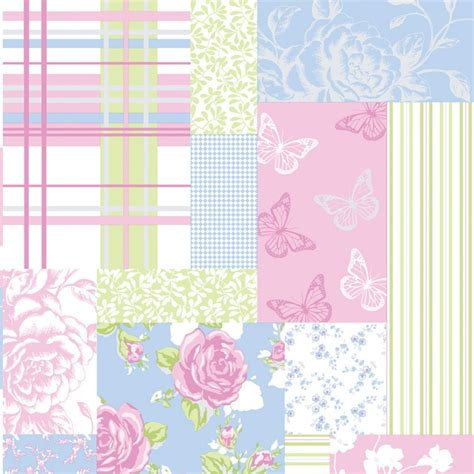Pink Patchwork - coloroll pollyanna patchwork floral wallpaper green blue