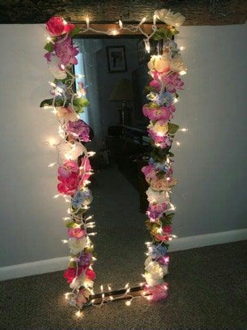 disenos de espejos decorados  flores tipo vintage