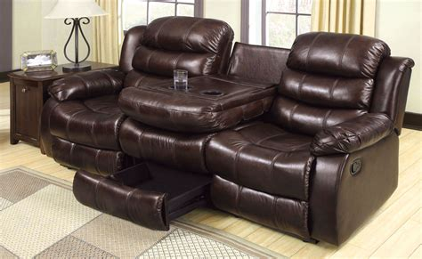 Reclining Sofa With Center Console with Berkshire Rustic Brown Reclining Sofa With Center Console From Furniture Of America Cm6551 S
