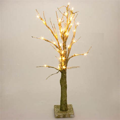 Twig Tree With Lights by Battery Operated Gold Glitter Twig Tree With Warm White