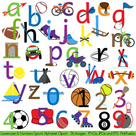 printable sports numbers sports alphabet clipart clip art sports letters font