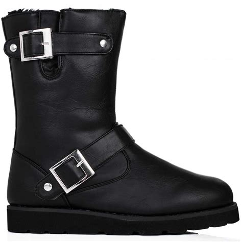 buy gas flat buckle fur biker ankle boots black leather