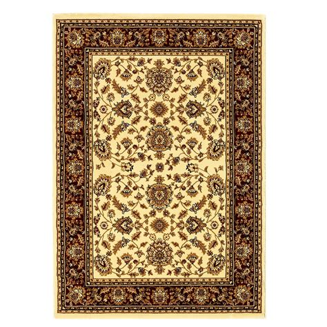 Hermitage Sarouk Style Traditional Rug In Cream And Red Traditional Rugs