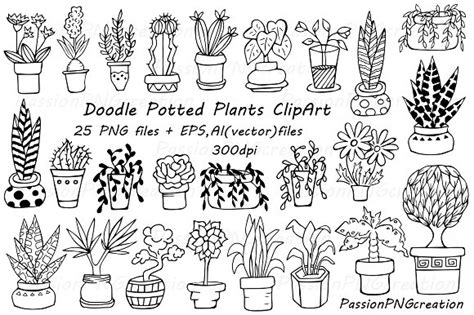 winter a grayscale coloring book books doodle potted plants clipart illustrations creative market