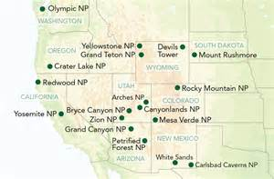 Map Of Usa National Parks by Usa National Park Holidays Titan Travel