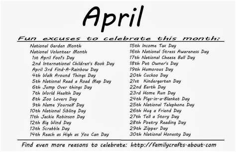 Calendar Of Special Days Special Days April Kidtivities