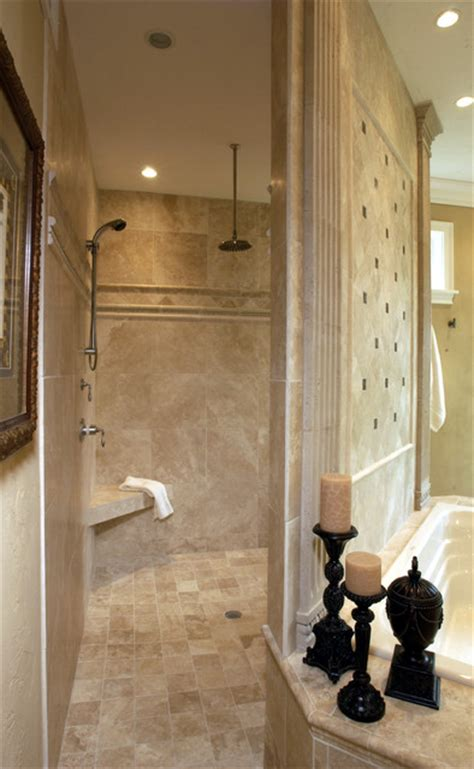 Walk In Shower With No Door Walk Through Shower Traditional Bathroom Other Metro By Michael F Simon Builders