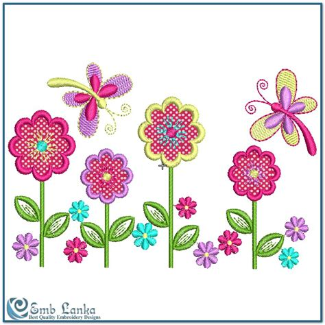 embroidery designs applique applique flowers and butterflies embroidery design