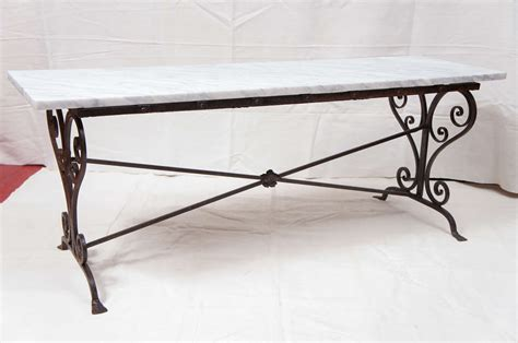 Iron And Marble Coffee Table Antique Wrought Iron Marble Coffee Table At 1stdibs