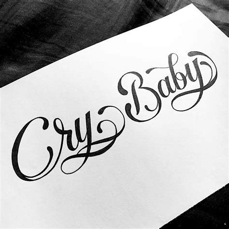 tattoo of lettering cry baby calligraphy typography