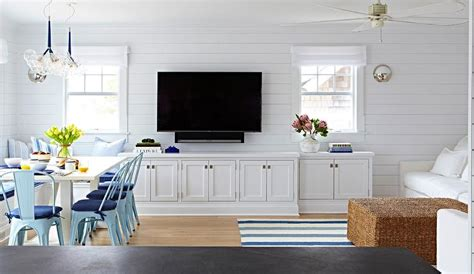 beach bungalow living room white built tv cabinets cottage living room