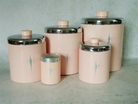 vintage pink tin kitchen canister set pink atomic stars