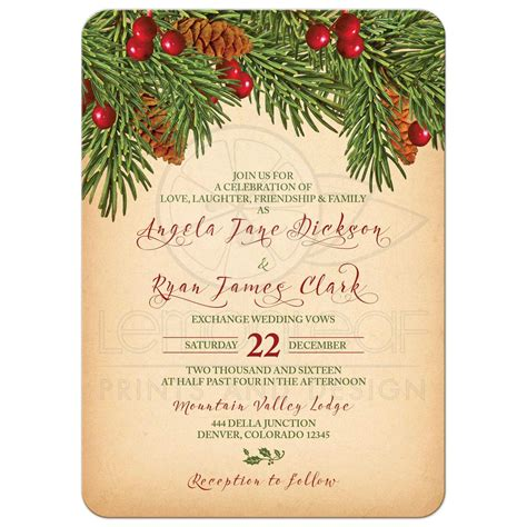 christmas wedding invitation traditional vintage