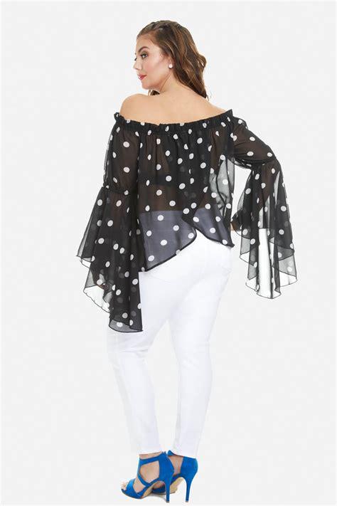 Blouse Big Size Motif Polka 2 plus size liza polka dot blouse