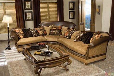 leather and fabric sectional sofa salvatore hand carved exposed wood frame sectional sofa